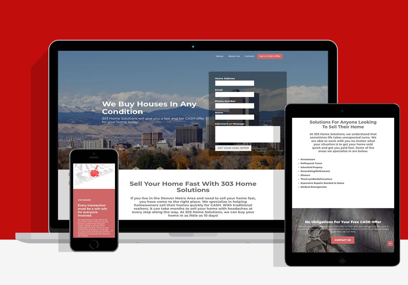 303 home solutions website design work