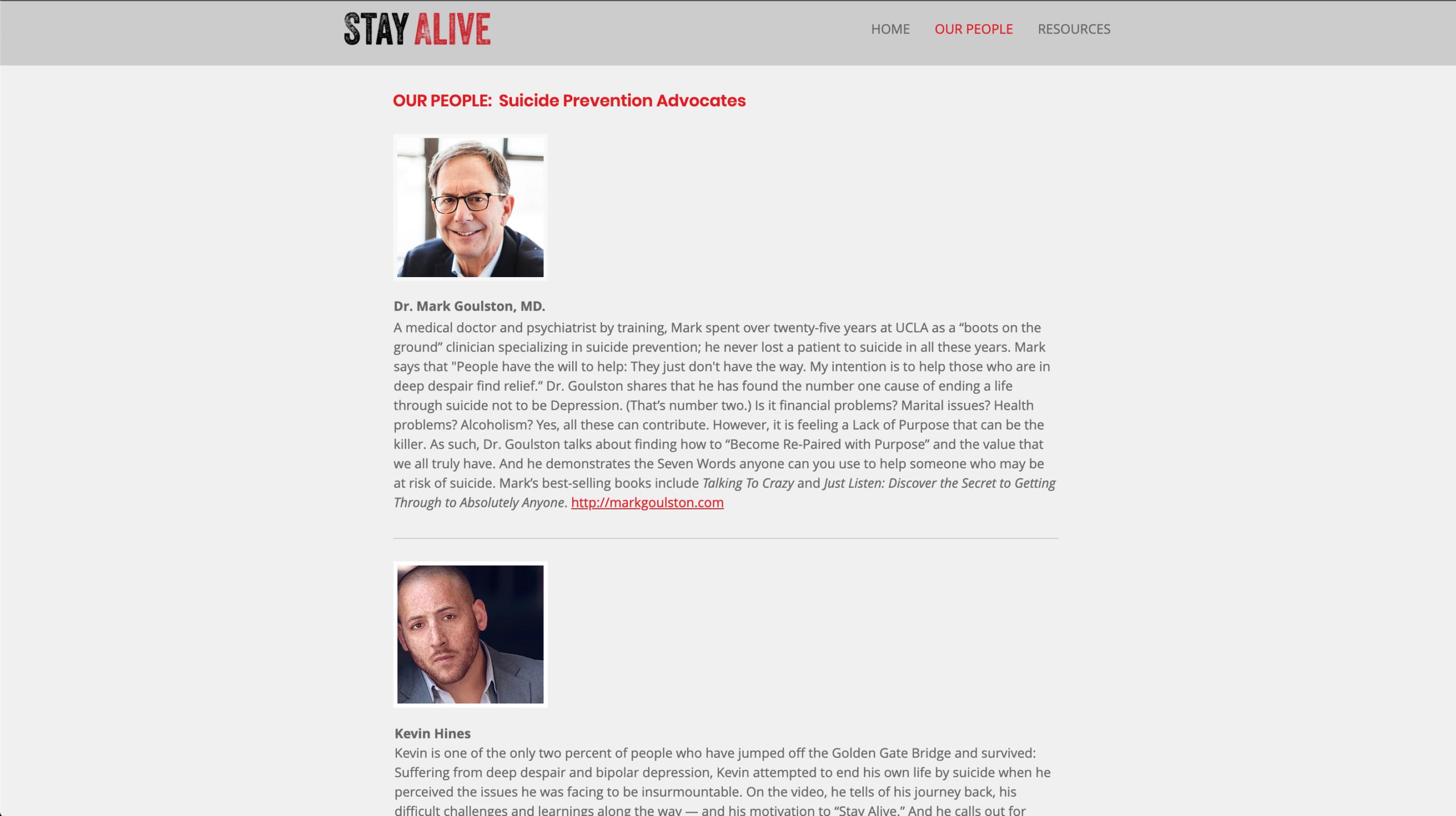 stay alive website design work